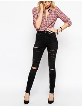 asos-ridley-skinny-jeans-in-washed-black-with-extreme-rips-and-busts by asos-collection