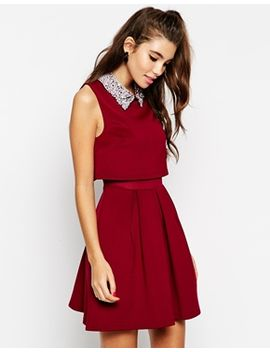 asos-a-line-crop-top-dress-with-embellished-collar by asos-collection
