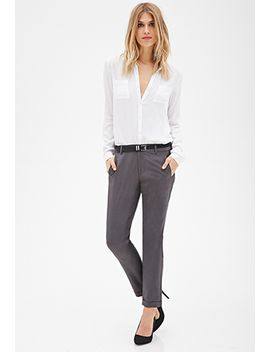 cuffed-slim-leg-trousers by forever-21