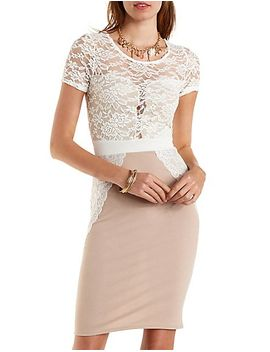 lace-overlay-bodycon-dress by charlotte-russe