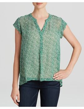 farhana-mini-textural-animal-print-silk-top by joie