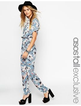 asos-tall-floral-printed-t-shirt-jumpsuit by asos-tall