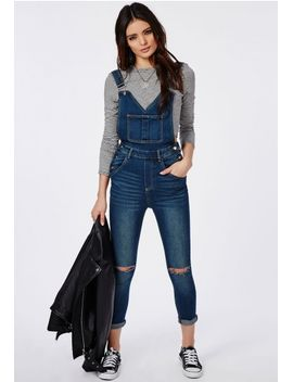 vintage-wash-ripped-knee-denim-overalls-blue by missguided