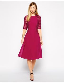 asos-midi-skater-dress-with-lace-panels by asos-collection