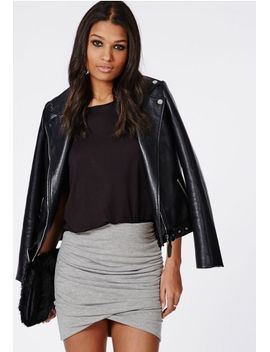 gathered-wrap-mini-skirt-grey by missguided