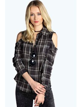 lexi-cold-shoulder-checked-shirt by boohoo