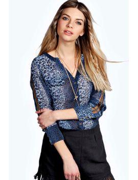 caitlyn-beaded-sleeve-leopard-shirt by boohoo