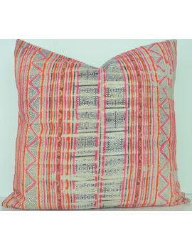 hmong-pillow-cover-vintage,-textile,-ethnic,-handwoven,-indigo,-batik,-pink,-orange,-geometric-pattern by homegirlcollection
