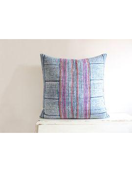 vintage-indigo-batik-and-embroidered-hmong-cushion-cover-22x22 by imprintsandindigo