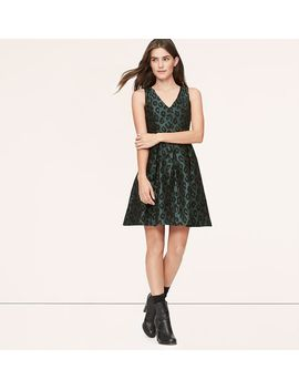 leopard-jacquard-flare-dress by loft