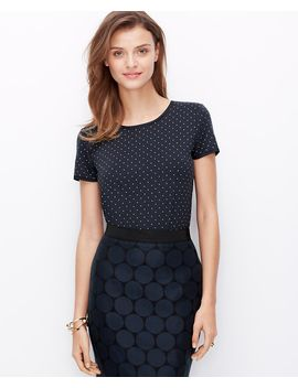 dot-woven-trim-tee by ann-taylor