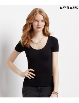 map-to-mars-solid-scoop-bodycon-tee by aeropostale