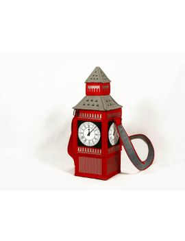 big-ben-tower-red-felt-bag by krukrustudio