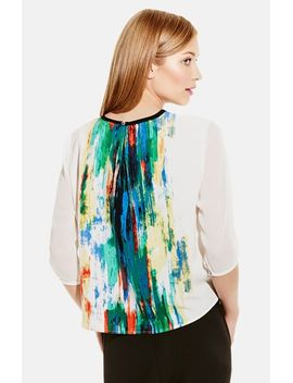placed-print-crewneck-blouse by vince-camuto