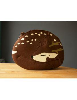 deer-bag-brown-felt-sleeping-deer-purse by krukrustudio