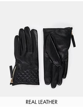 asos-leather-quilted-cuff-gloves by asos-collection