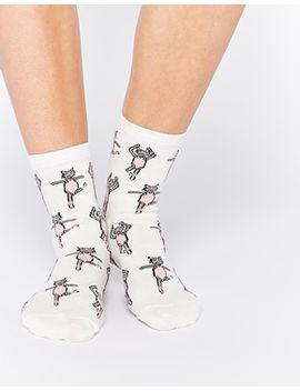 asos-ankle-socks-with-ballerina-cat by asos-collection