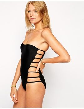 asos-lattice-side-bandeau-swimsuit by asos-collection