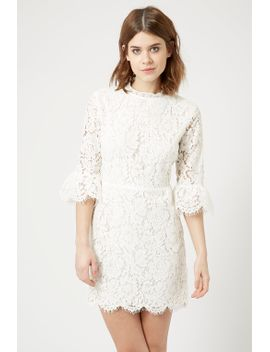 bell-sleeve-lace-shift-dress by topshop