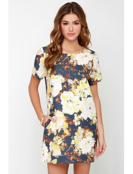 i-madeline-floralscape-navy-blue-floral-print-dress by i-madeline
