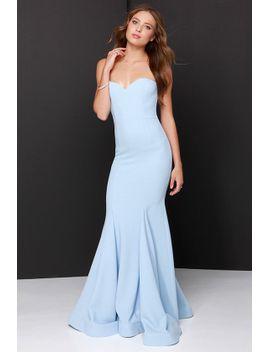 sorella-light-blue-strapless-maxi-dress by lulus