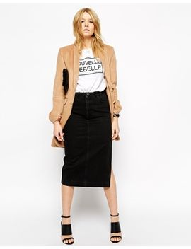 asos-denim-midi-skirt-in-washed-black-with-side-split by asos-collection
