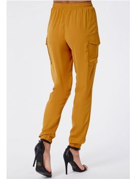 kira-silky-cargo-joggers-mustard by missguided