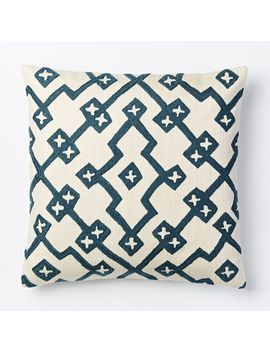 crewel-lattice-pillow-cover---blue-lagoon by west-elm