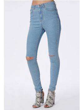 edie-high-waisted-ripped-knee-skinny-jeans-bleached-blue by missguided