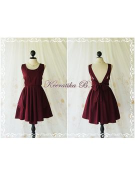 maroon-dress-red-dress-maroon-party-dress-dark-red-prom-dress-backless-dress-maroon-bridesmaid-dresses-red-cocktail-dress-bow-back-dress by keeratika
