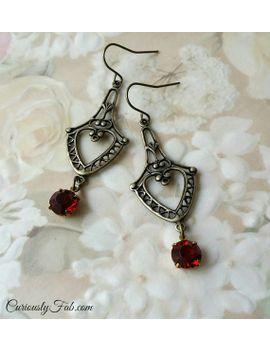 earrings-vintage-ruby-red-rhinestones-drop-victorian-earrings-valentine-earrings-~-elizabeth-~ by curiouslyfab