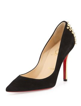 zappa-suede-spiked-heel-red-sole-pump,-black_gold by christian-louboutin