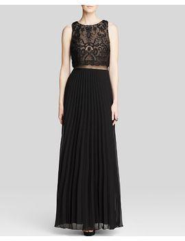 gown---sleeveless-lace-bodice-illusion-waist-pleat-skirt by aqua