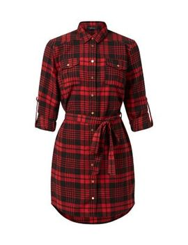 red-check-tie-waist-shirt-dress by new-look