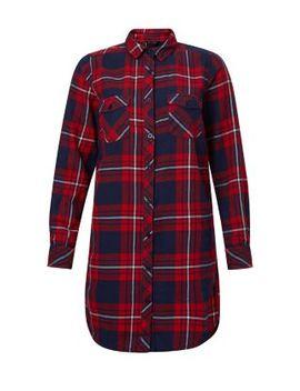red-tartan-boyfriend-shirt by new-look