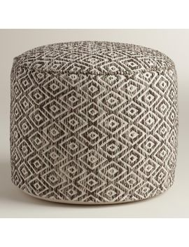 brown-and-white-diamond-wool-pouf by world-market