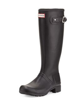original-tour-buckled-welly-boot,-black by hunter-boot