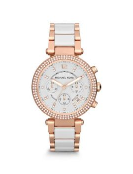parker-rose-gold-tone-white-acetate-watch by michael-kors