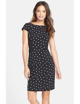 polka-dot-pleat-detail-sheath-dress by adrianna-papell