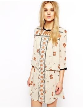 maison-scotch-dress-with-tassle-collar-in-aztec-print by maison-scotch