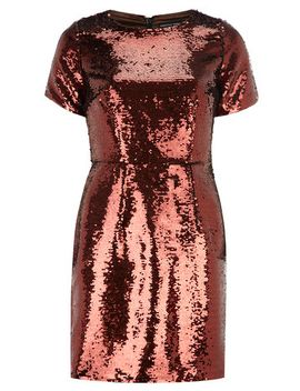 bronze-sequin-shift-dress by dorothy-perkins