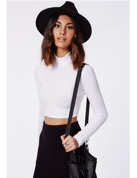 dharma-ribbed-turtle-neck-long-sleeve-crop-top-white by missguided