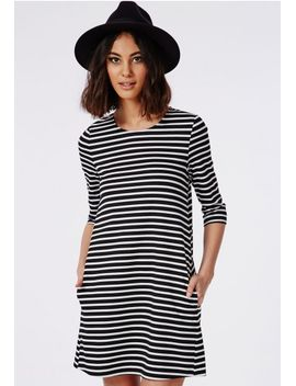 stripe-a-line-shift-dress-monochrome by missguided