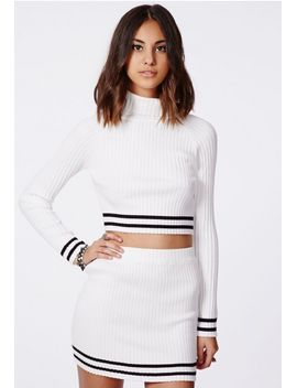 remilia-knitted-roll-neck-stripe-crop-top-white by missguided