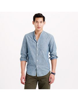 wallace-&-barnes-band-collar-japanese-selvedge-chambray-shirt by jcrew