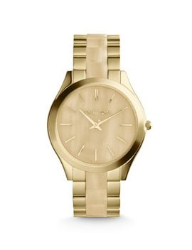 slim-runway-horn-and-gold-tone-watch by michael-kors