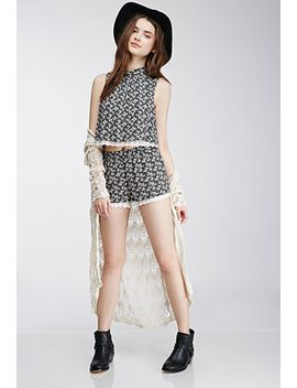 lace-trimmed-floral-shorts by forever-21