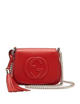 soho-leather-chain-crossbody-bag,-red by gucci