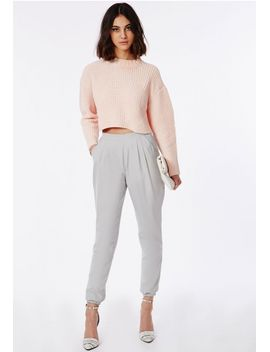 zizara-grey-cuff-detail-trousers by missguided