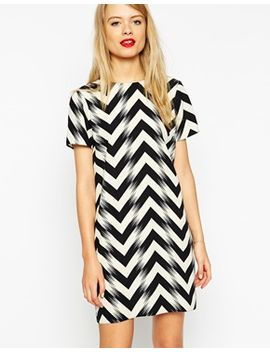 asos-shift-dress-in-mono-chevron-print by asos-collection